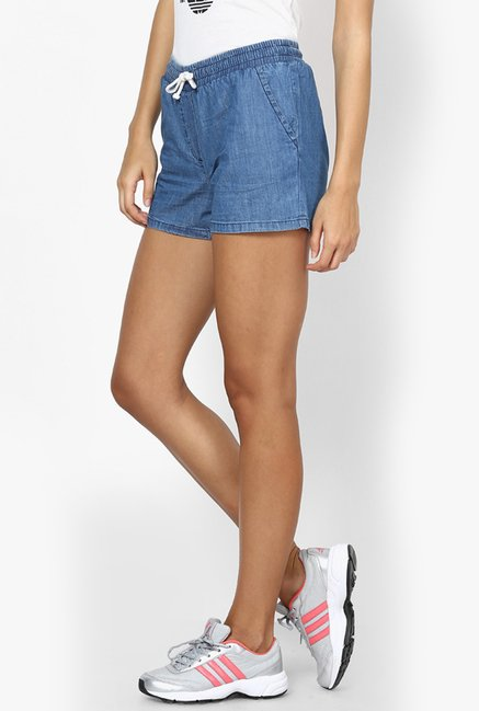 Only Blue Solid Cotton Shorts