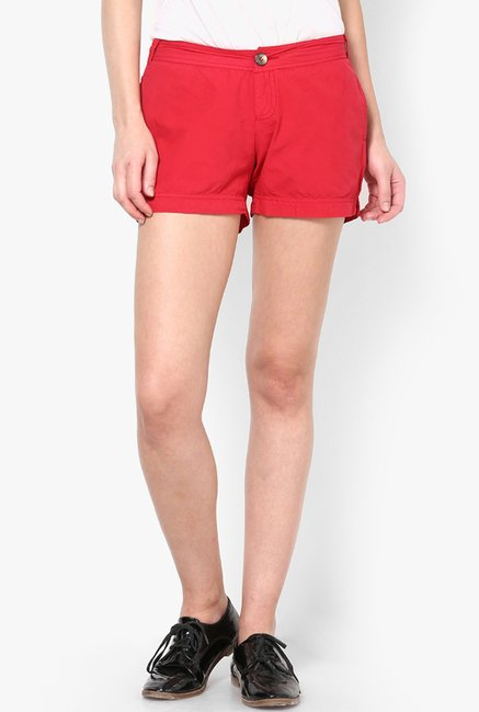 Only Red Solid Shorts