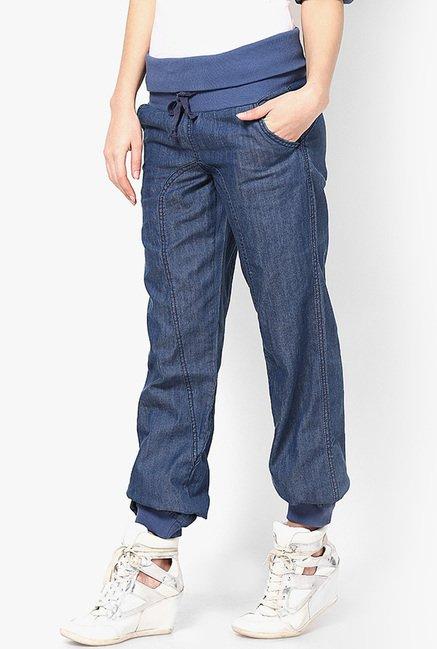 Only Dark Blue Solid Denim Joggers