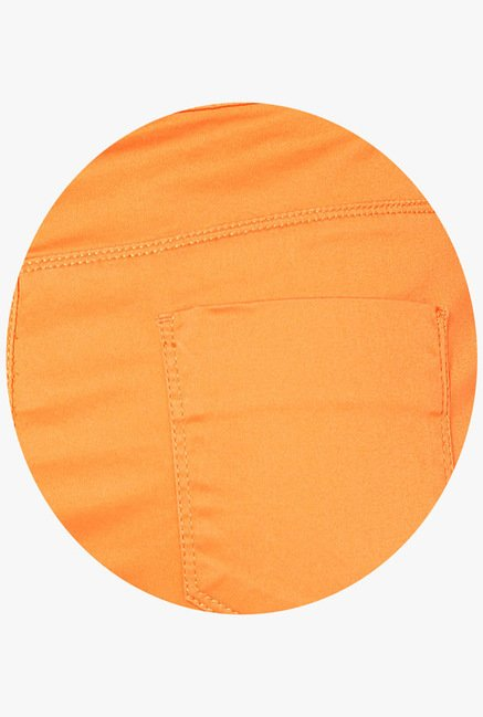 Only Orange Solid Shorts