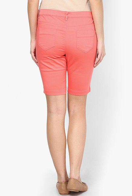 Only Coral Solid Shorts