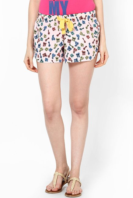 Only Peach Printed Shorts
