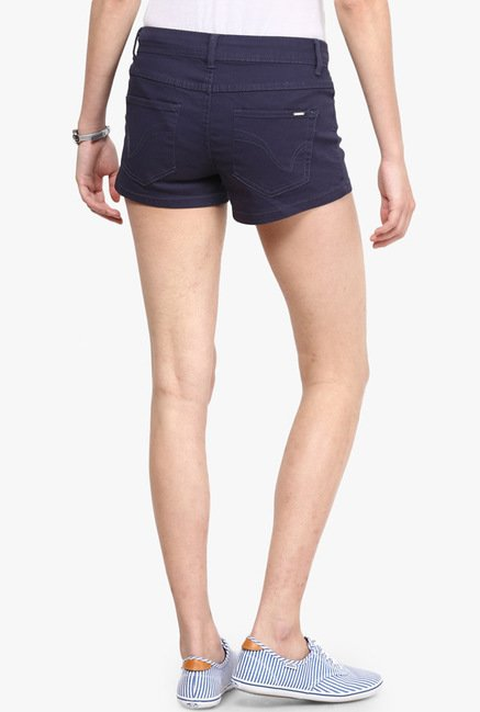 Only Navy Solid Shorts