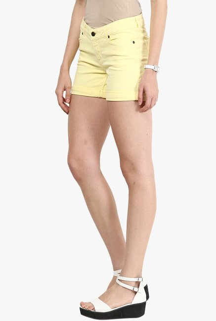 Only Yellow Solid Shorts
