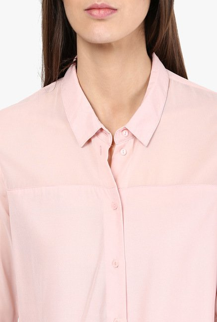 Only Peach Solid Shirt