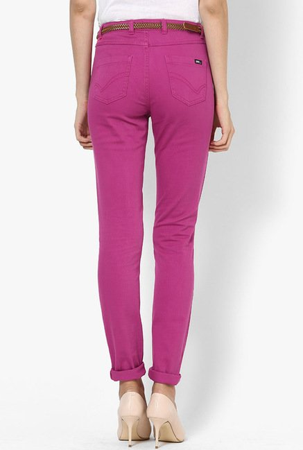 Only Magenta Solid Chinos