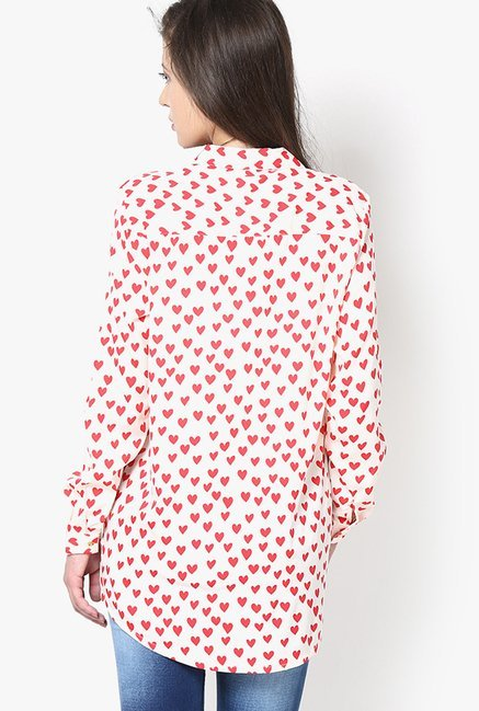 Only Peach Heart Print Shirt