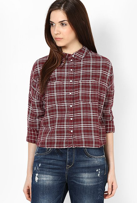 Only Maroon Checks Shirt