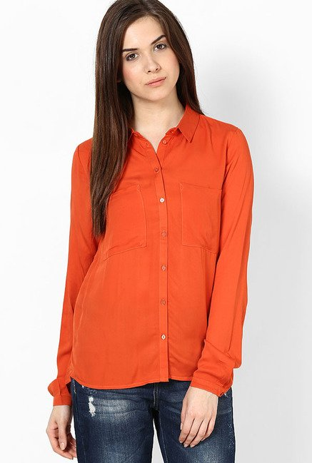 Only Orange Solid Shirt
