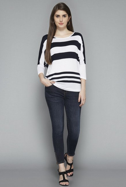 LOV by Westside White Zebra Top