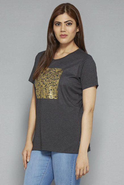 Gia by Westside Grey Printed T Shirt