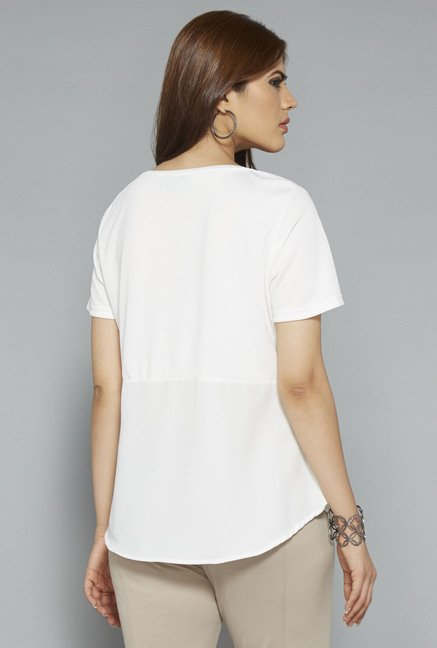 Gia by Westside Off White Embellished T Shirt