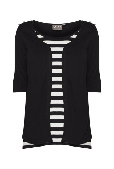 Gia by Westside Black Striped Blouse