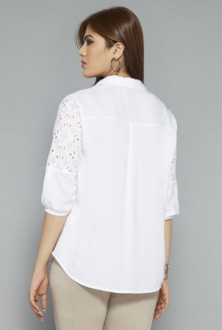 Gia by Westside White Solid Blouse