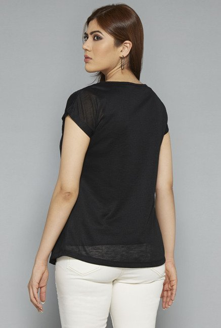 Gia by Westside Black Solid Top