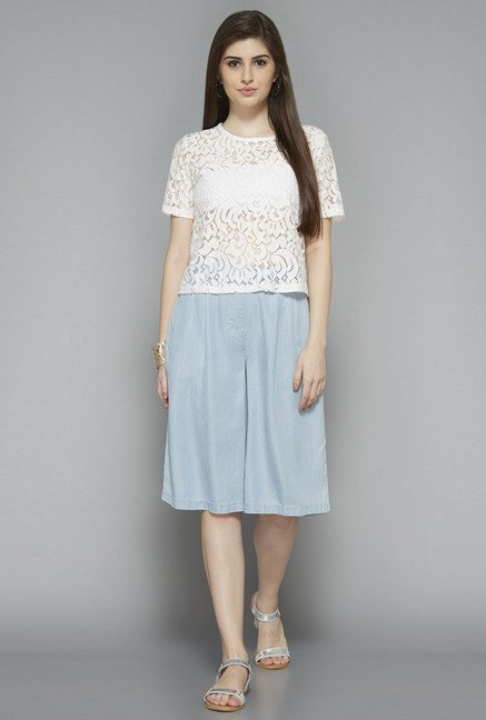 LOV by Westside White Lace Blouse