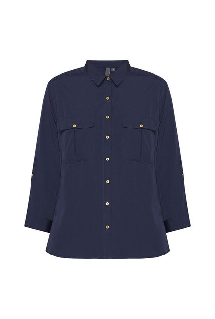 LOV by Westside Navy Solid Blouse