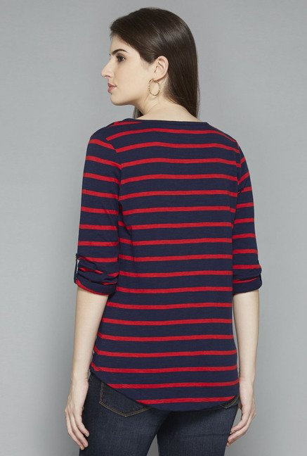 LOV by Westside Navy Striped Top