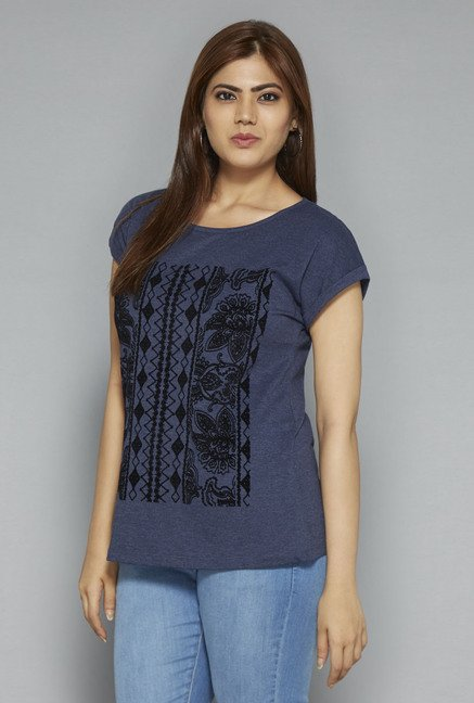 Gia by Westside Navy Printed T Shirt