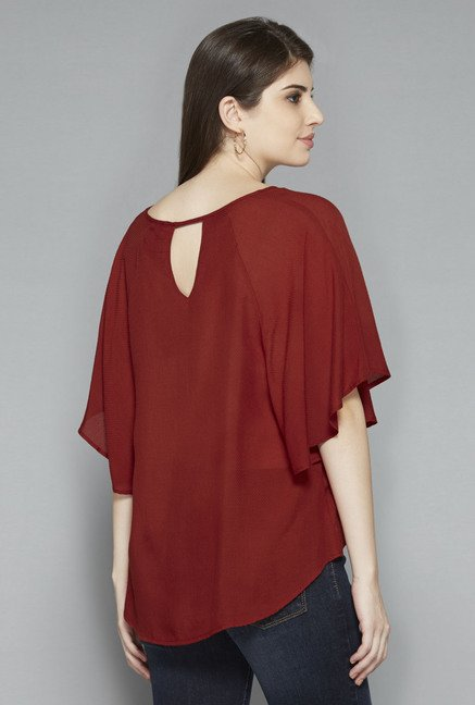 LOV by Westside Maroon Yasmin Blouse