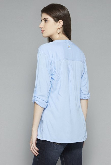 LOV by Westside Light Blue Solid Blouse