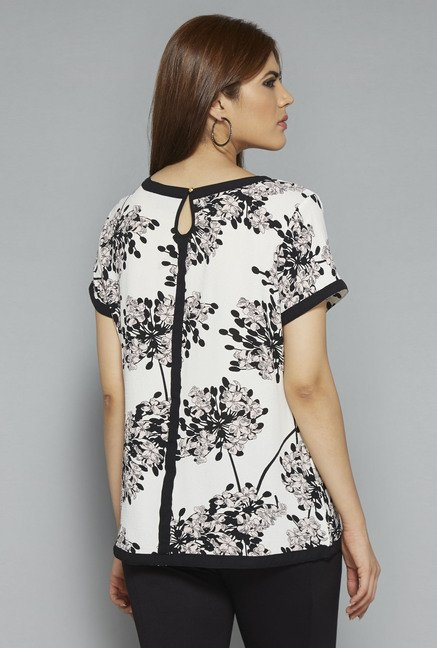 Gia by Westside Off White Floral Print Blouse