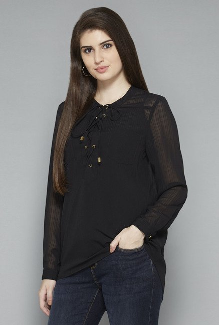LOV by Westside Black Solid Blouse