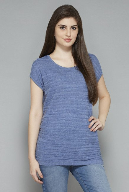 LOV by Westside Blue Striped T Shirt