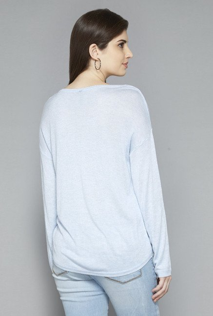 LOV by Westside Light Blue Solid T Shirt