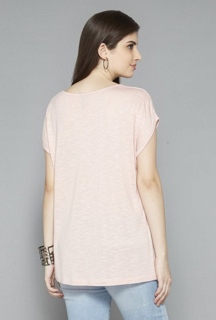 LOV by Westside Light Pink Embellished T Shirt