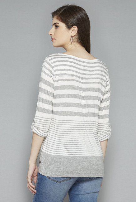 LOV by Westside Grey Striped T Shirt