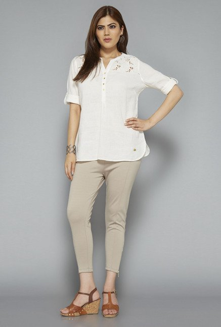 Gia by Westside Off White Solid Blouse