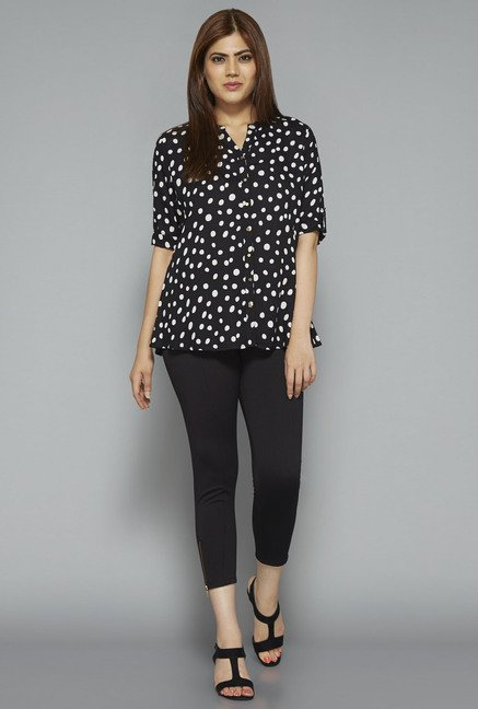 Gia by Westside Black Printed Blouse