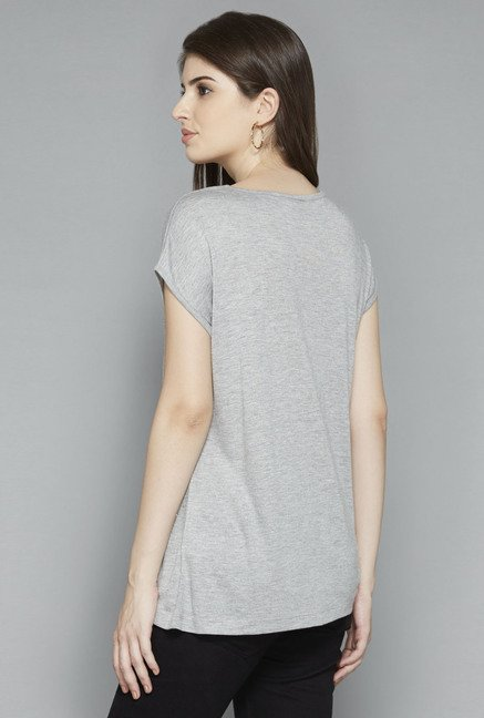 LOV by Westside Grey Embellished T Shirt