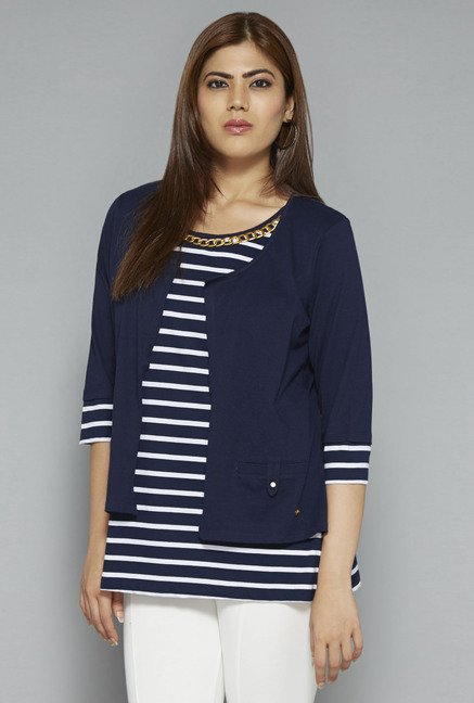 Gia by Westside Navy Striped Blouse