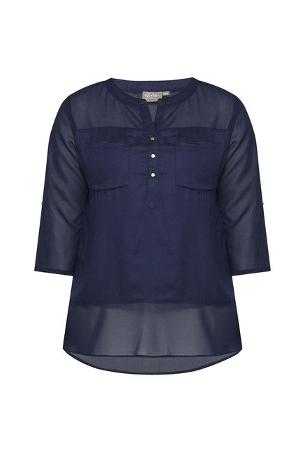 Gia by Westside Navy Solid Blouse