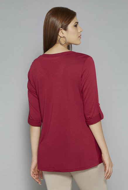 Gia by Westside Maroon Robin Blouse