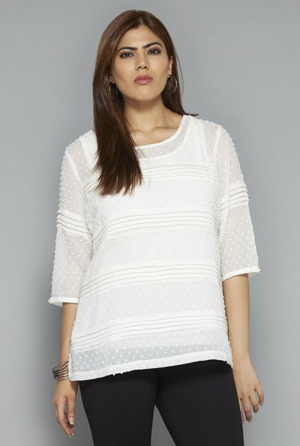 Gia by Westside Off White Self Print Blouse