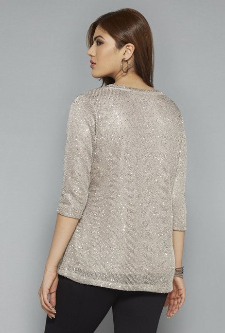 Gia by Westside Beige Lyric Knitted Top