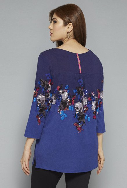 Gia by Westside Navy Floral Print Blouse