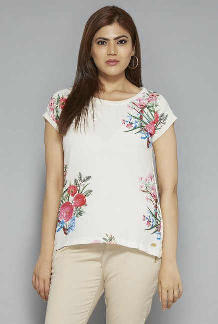 Gia by Westside Off White Floral Print T Shirt