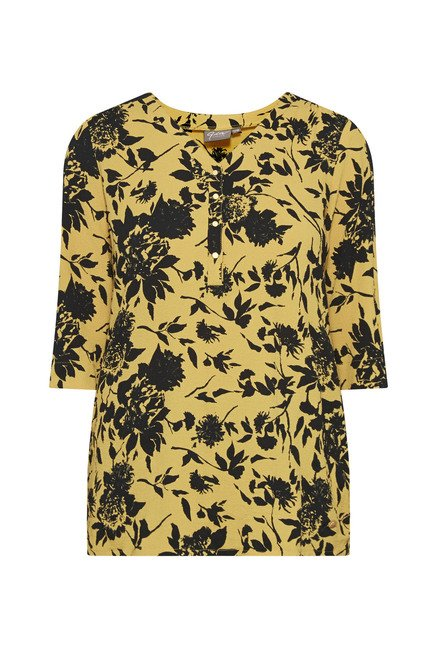 Gia by Westside Yellow Floral Print Blouse