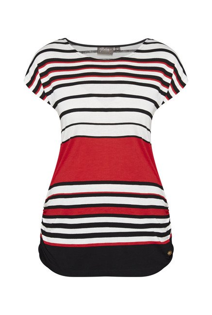 Gia by Westside White Striped T Shirt