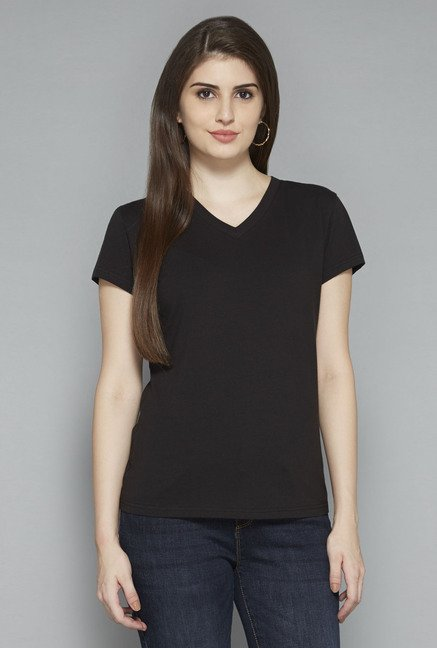 LOV by Westside Black Solid T Shirt