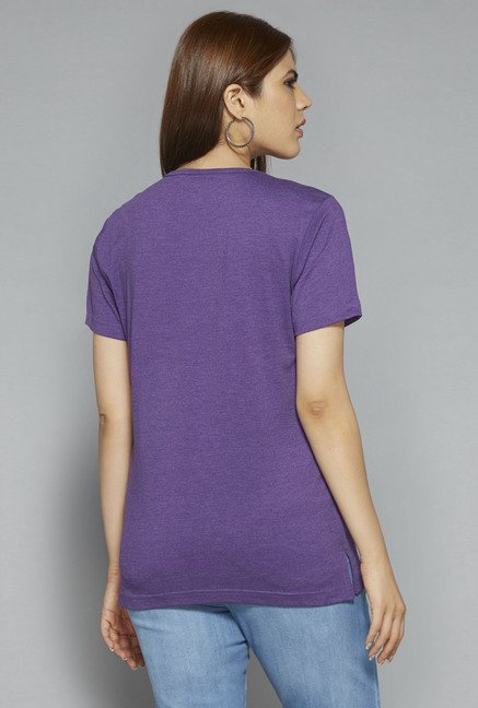Gia by Westside Purple Paisley Print T Shirt