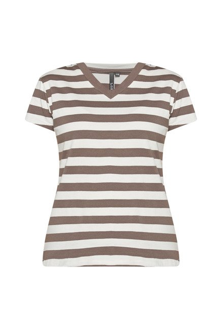 LOV by Westside Taupe Striped T Shirt