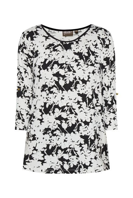 Gia by Westside Black Floral Print T Shirt