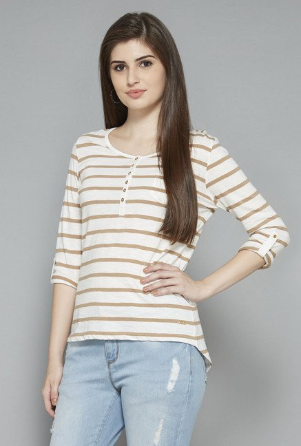 LOV by Westside Off White Striped Top