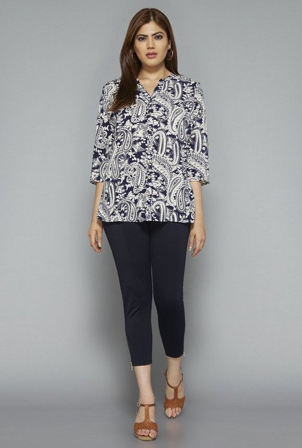 Gia by Westside Navy Paisley Print Blouse