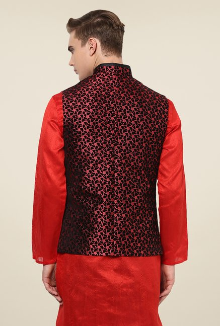 Yepme Black & Red Drew Nehru Jacket